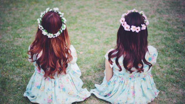 双子の女の子の後ろ姿