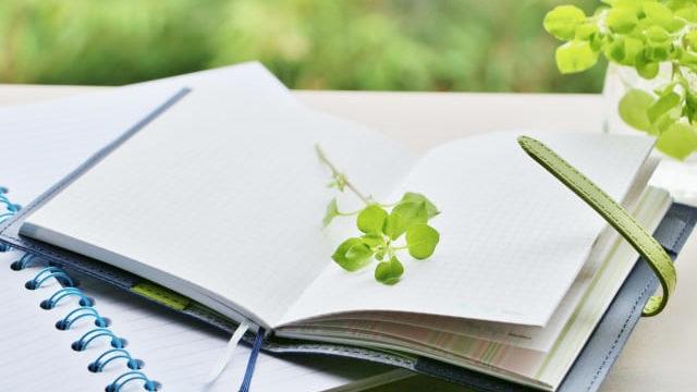 手帳の間に挟まっている植物